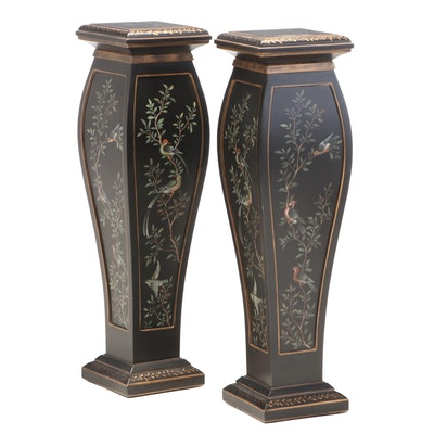 Pair of Paint-Decorated and Crackle Lacquered Pedestal Stands