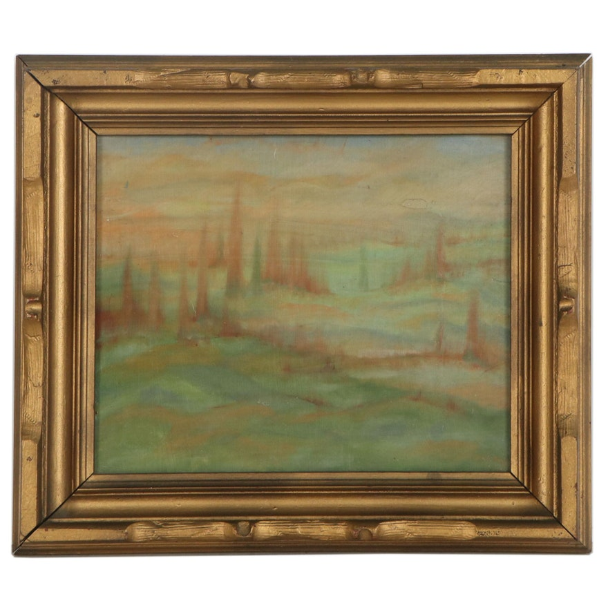 Abstract Double-Sided Oil Painting, 20th Century