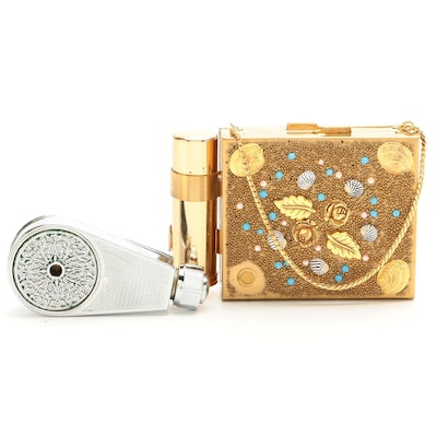 Embellished Compact Case with Lipstick Holder and French Pocket Atomizer