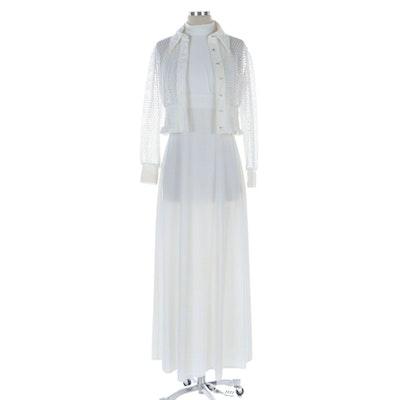 Open Knit White/Metallic Button-Front Blouse and Maxi Halter Dress Set, 1970s