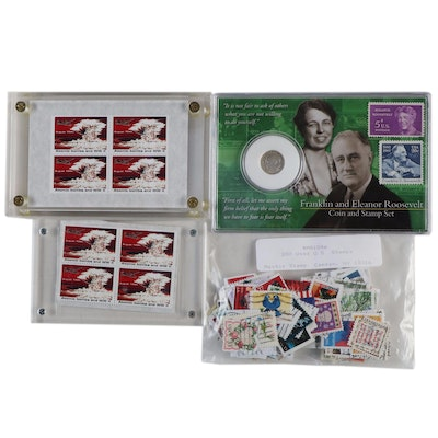 1995 Banned A-Bomb Stamps with Roosevelt Stamps and Silver Dime