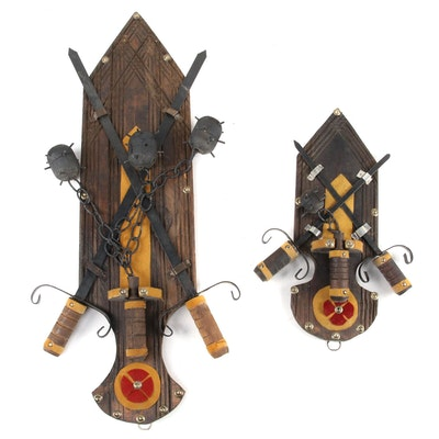 Folk Art Style Rustic Iron Flail and Crossed Swords Wall Decor