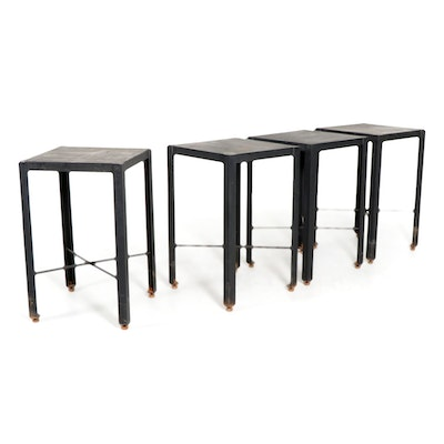 Four Industrial Style Welded Metal Stands