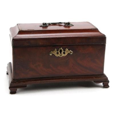 English Chippendale Style Burled Mahogany Stationery Box, 19th Century