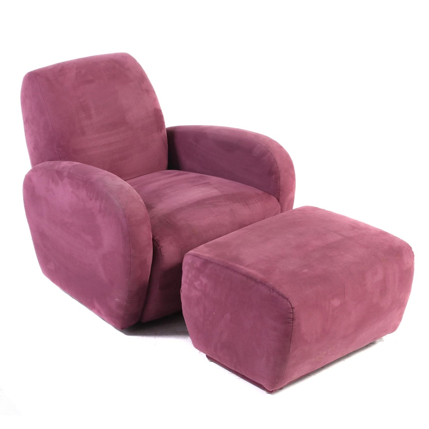 Art Deco Style Suede Upholstered Swivel Base Club Chair with Ottoman
