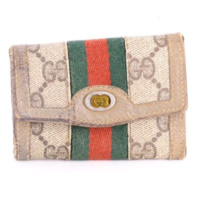 Gucci Web Stripe Six-Key Holder in GG Supreme Canvas and Leather
