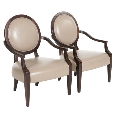 Pair of Contemporary Bernhardt Leather Upholstered Medallion-Back Armchairs