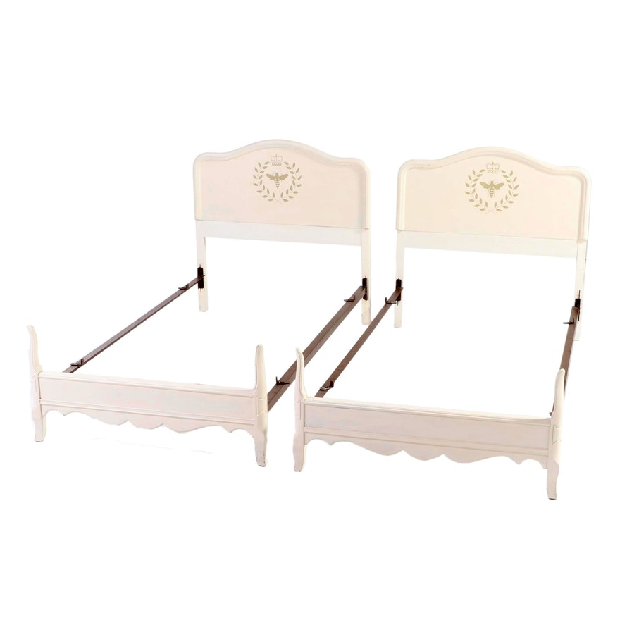 Pair of French Provincial Style Painted and Stenciled Twin Size Bed Frames