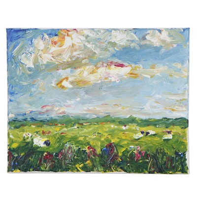 """Mia Wyle Landscape Oil Painting """"Sheep I,"""" 21st Century"""