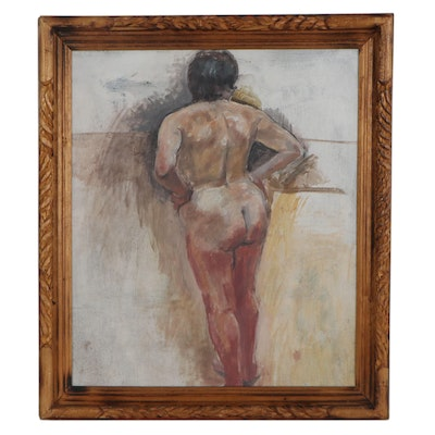 Double-Sided Oil Painting of Nude Figures, Late 20th Century