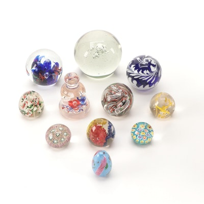 """Handcrafted """"Millefiori"""" and Other Art Glass Paperweights, Mid to Late 20th C."""