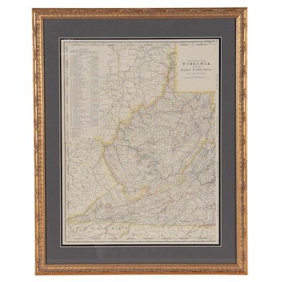 "Wax Engraving Railroad Map ""Western Half of Virginia and West Virginia"""