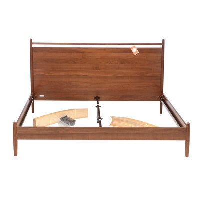 """Article """"Lenia"""" Contemporary Walnut-Veneered King Size Bed Frame"""