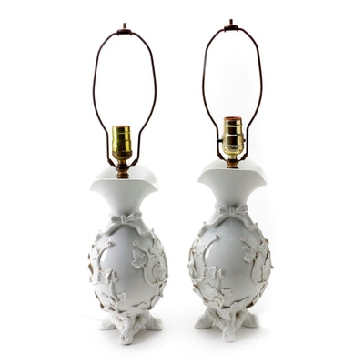 Pair of Blanc de Chine Lamps with Applied Ivy Motif, Mid-20th Century