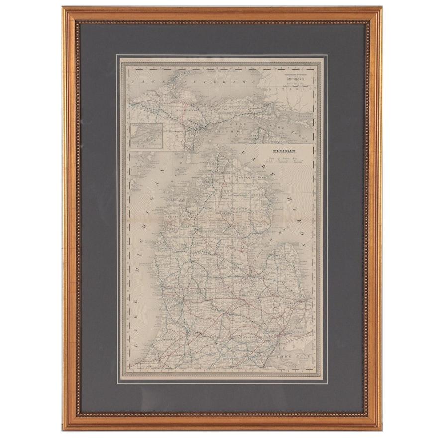 """Wax Engraving Railroad Map """"Michigan,"""" circa 1900"""