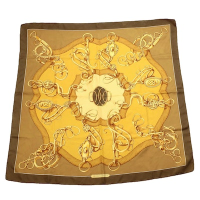 """Hermès Early Issue """"Profile - Selliere"""" Silk Twill Scarf"""
