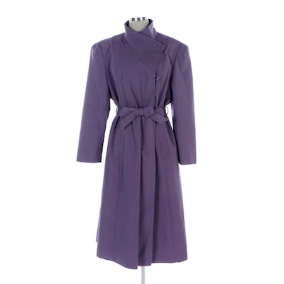 Asymmetrical Belted Jacket with Seaming Detail in Lilac