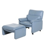 Preview Furniture Blue Leather Rolling Armchair and Ottoman, Late 20th Century