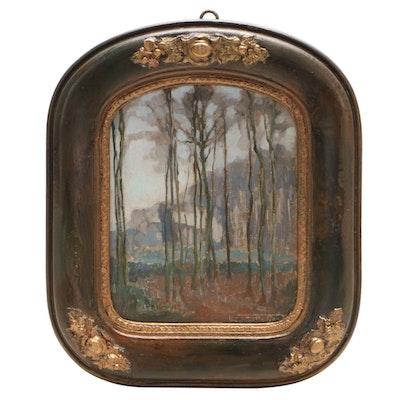 """Henri Quittelier Oil Painting """"Brume d'Automne,"""" 1935"""