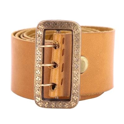 Handmade Tan Leather Belt with Victorian Metal Rectangular Buckle