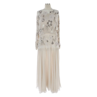 Faux Pearl and Bead Embellished Chiffon Evening Dress