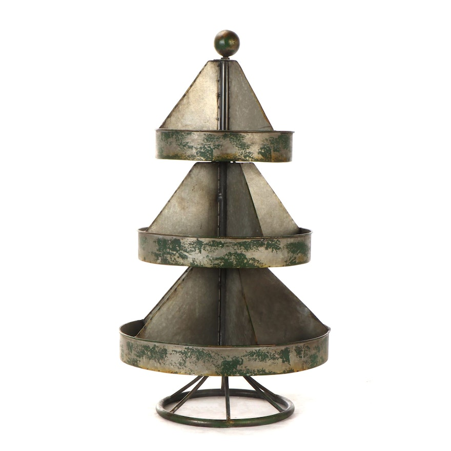 Galvanized Tin Lazy-Susan/Stand, Early to Mid-20th Century