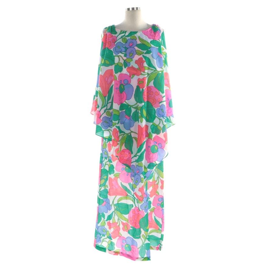Kamehameha Floral Printed Crepe Kaftan Style Dress