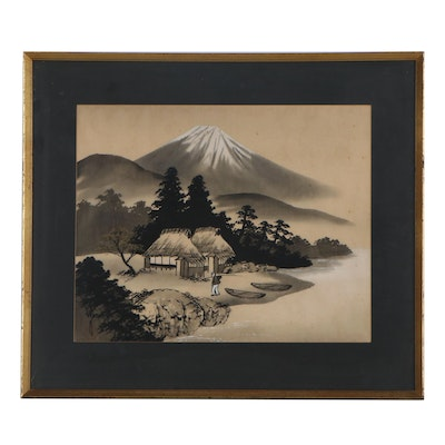 Japanese Ink and Watercolor Painting on Silk of Mount Fuji
