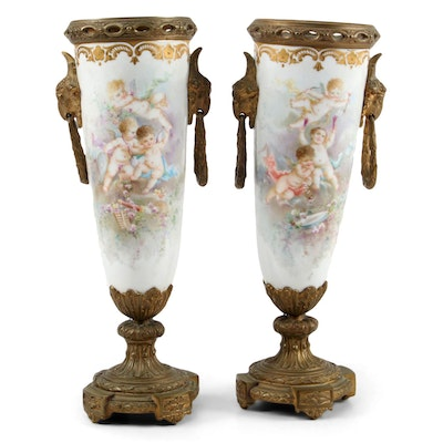 French Sevres Style Ormolu  Mounted Hand-Painted Porcelain Mantel Vases