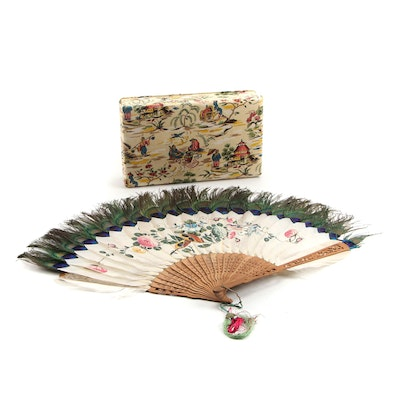 Chinoiserie Fabric Box and Chinese Hand-Painted Peacock Feather Folding Fan