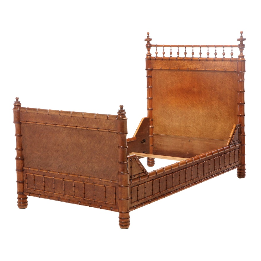 American Aesthetic Movement Faux-Bamboo and Bird's-Eye Maple Bed Frame