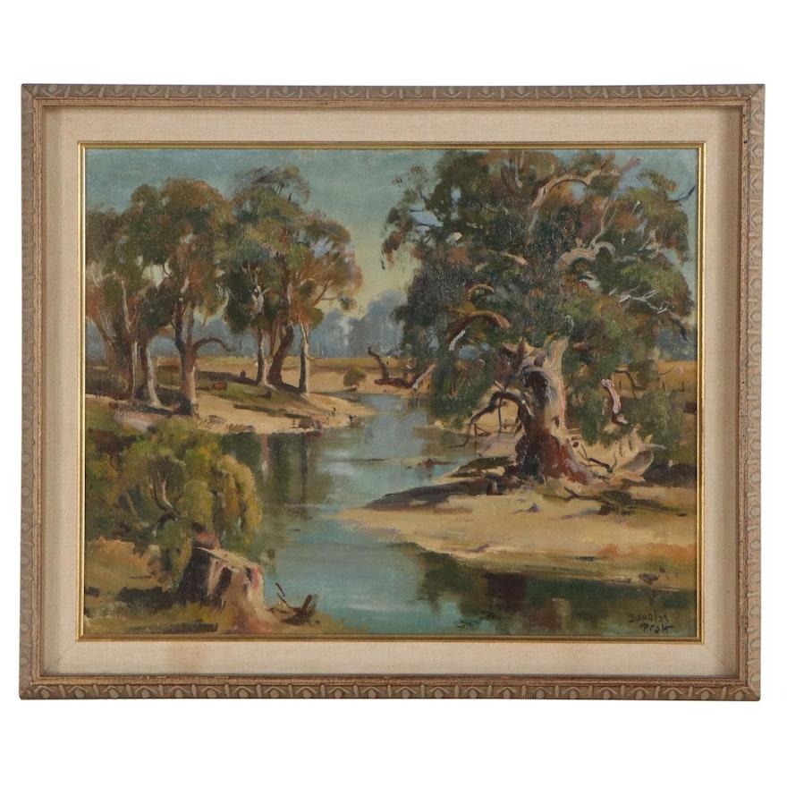 Douglas Fieldew Pratt Oil Painting of Marsh Landscape, Mid-Late 20th Century