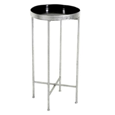 Contemporary Silver-Tone Metal Folding Butler's Tray Table