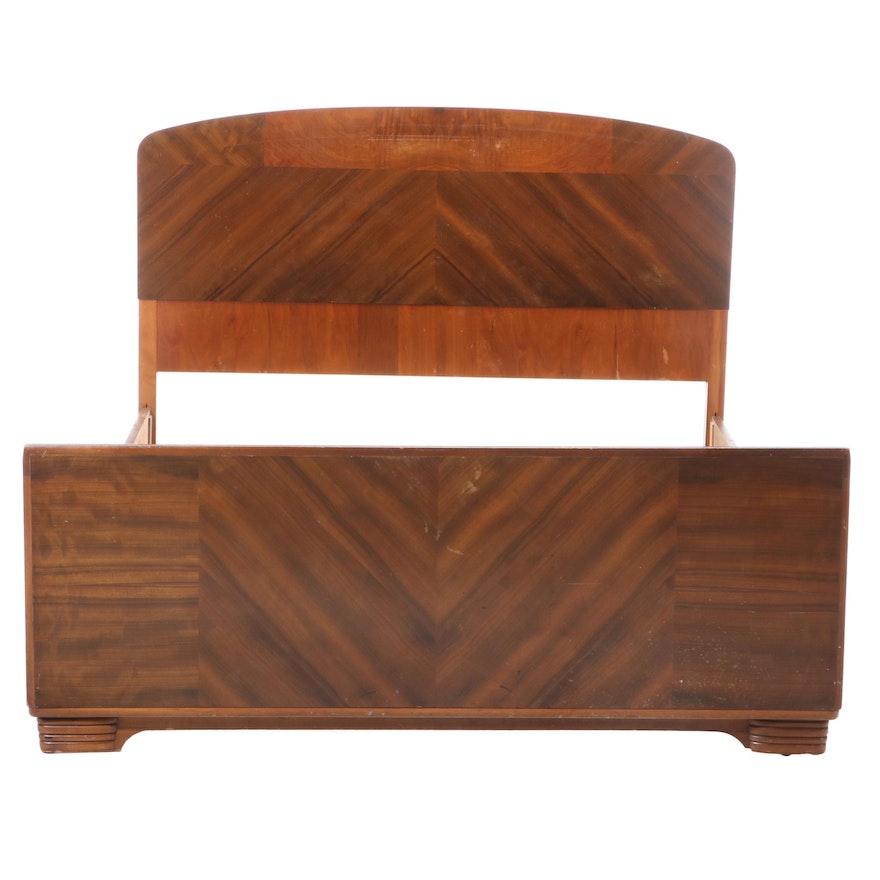 Art Deco Hardwood-Veneered Full Size Bed Frame, circa 1930