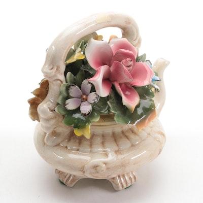 Capodimonte Italian Ceramic Teapot with Applied Flowers Figurine, Vintage