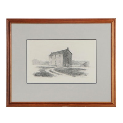 Marion Cook Graphite Drawing of Cabin, 1974