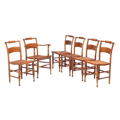 Six Federal Style Maple Dining Chairs, Mid to Late 20th Century