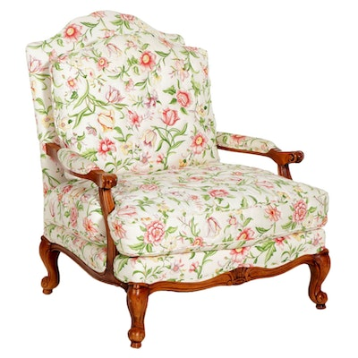 French Provincial Style Fauteuil in Floral Upholstery, Late 20th Century