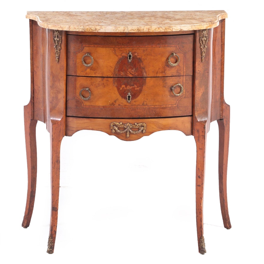 Louis XV Style Gilt Metal-Mounted Marquetry and Variegated Marble Petite Commode