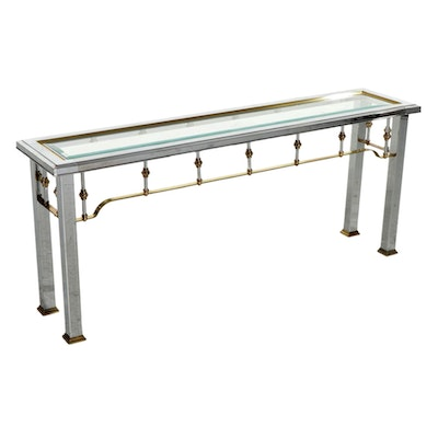 Maison Jansen Style Glass-Top Chrome and Brass Console Table