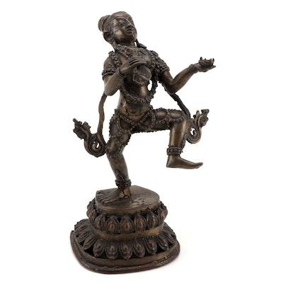 Himalayan Vajrayogini Brass Sculpture in a Dancing Posture