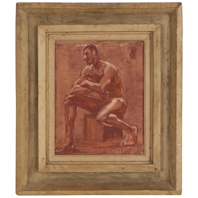 Mixed Media Painting of Nude Male Figure, Early to Mid-20th Century