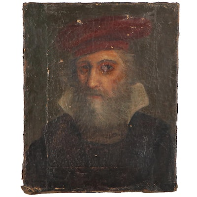Continental Portrait Oil Painting, Early-Mid 19th Century
