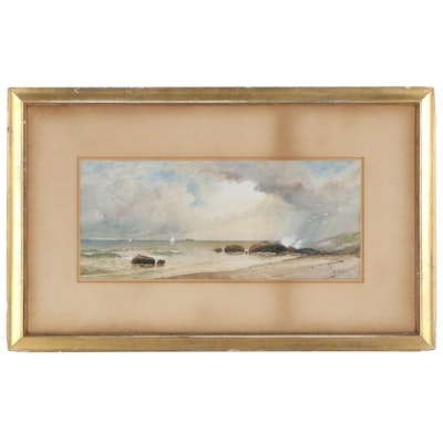 Julius A. Beck Coastal Scene Watercolor and Gouache Painting
