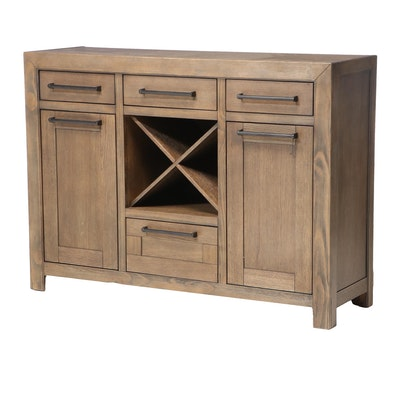 Legends Furniture Arcadia Oak-Veneered Buffet with Wine Bottle Rack