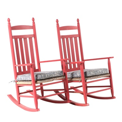 Pair of American Primitive Style Red-Painted Rocking Armchairs