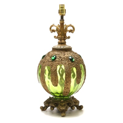 Embellished Green Glass Metal Table Lamp Base, Mid/Late 20th Century