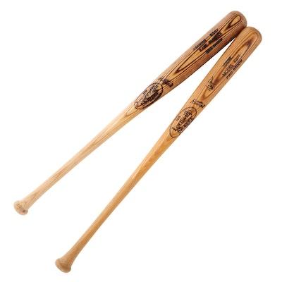 Hank Blalock Pro Model and Rubin Sierra Signed Louisville Slugger Baseball Bats