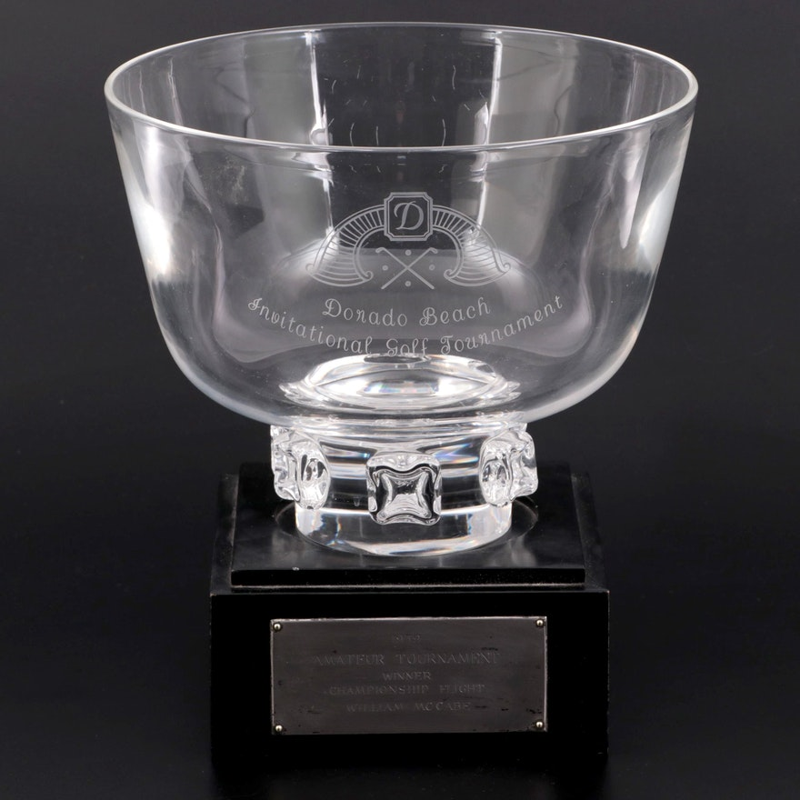 Steuben Art Glass Golf Tournament Presentation Trophy Bowl with Pedestal, 1959