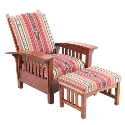Sam More Furniture Arts & Crafts Style Oak Morris Chair and Ottoman